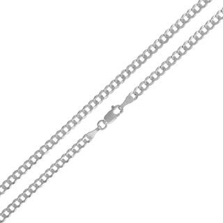 14k White Gold Unisex 3mm Solid Cuban Curb Link Chain Necklace