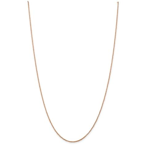 14K Rose Gold Polished and Diamond Cut 1.1mm Rope Chain by Versil