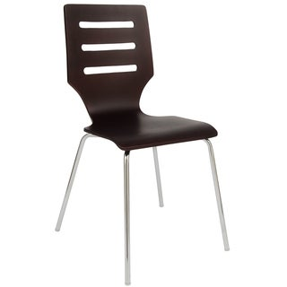 LeisureMod Revana Brown Plywood Chair with Chrome Frame