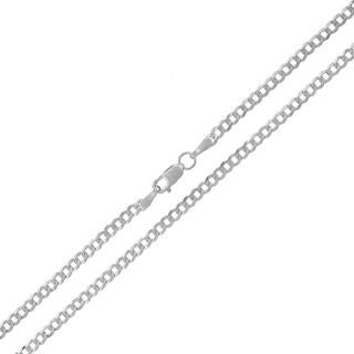 14k White Gold Unisex 2.5mm Solid Cuban Curb Link Necklace Chain