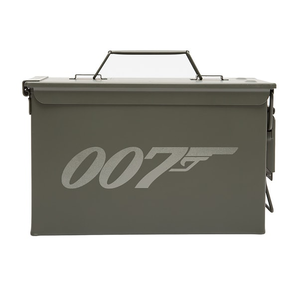 Army Force Gear James Bond 007 Laser Engraved Metal 50 Caliber Ammo or Fishing Gear Storage Box