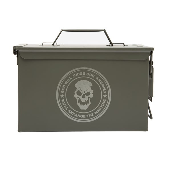 Army Force Gear 'God Will Judge Our Enemies' Metal Laser Engraved .50 caliber Ammo or Fishing Gear Storage Box