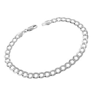 "14k White Gold Mens Womens Solid Cuban Curb Link Bracelet 7"", 8"""