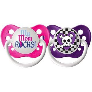 Ulubulu My Mom Rocks / Skull Girl Expression Pacifier 6-18 Months (2 Pack)