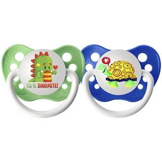 Ulubulu Dino/Turtle Lots of Love Pacifier 0-6 Months (2 Pack)