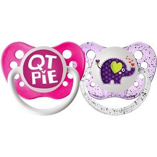 Ulubulu QT Pie/Elephant Lots of Love Pacifier 0-6 Months (2 Pack)