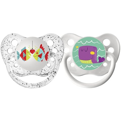 Ulubulu Fish/Whale Lots of Love Pacifier 6-18 Months (2 Pack)
