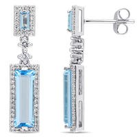 Miadora Signature Collection 14k White Gold Sky and Swiss Blue Topaz 1/3ct TDW Diamond Dangle Earrings (G-H,SI1-SI2)