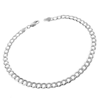 14k White Gold 4.5mm Solid Cuban Curb Link Bracelet Chain 8""