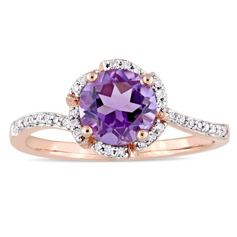 Miadora Signature Collection 14k Rose Gold Amethyst and 1/10ct TDW Diamond Flower Halo Ring - Purple
