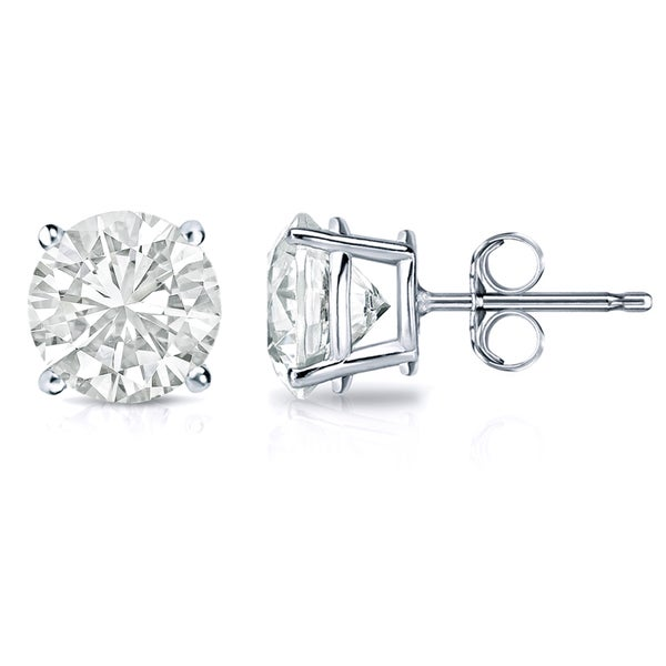 Auriya 18k Gold 2ct Tdw Clarity Enhanced Round Solitaire Diamond Stud Earrings
