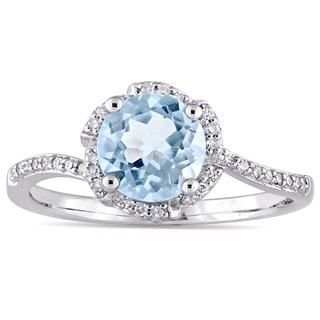 Miadora Signature Collection 14k White Gold Sky-Blue Topaz 1/10ct TDW Diamond Flower Halo Engagement Ring (G-H, I1-I2)