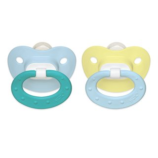 NUK Blue/Yellow Juicy 0-6 Months Silicone Orthodontic Pacifier (2 Pack)