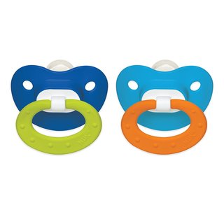NUK Blue/Blue Juicy 6-18 Months Silicone Orthodontic Pacifier (2 Pack)
