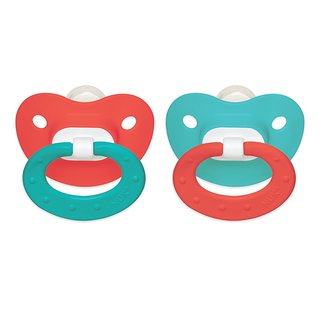 NUK Pink/Aqua Juicy 6-18 Months Silicone Orthodontic Pacifier (2 Pack)