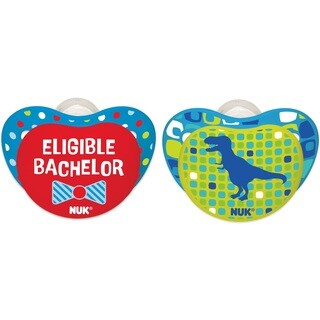 NUK Eligible Bachelor/Dino Small Talk 0-6 Months Orthodontic Pacifier (2 Pack)