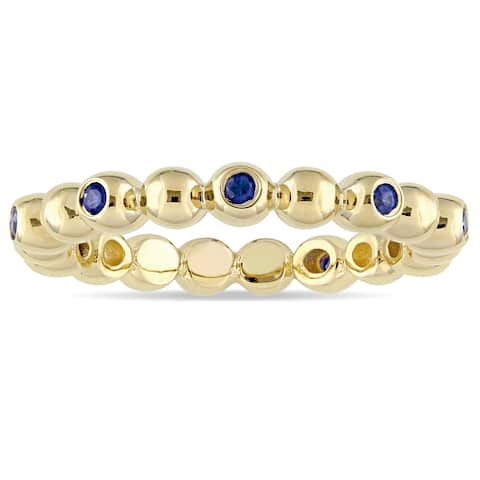 Miadora Signature Collection 14k Yellow Gold Sapphire Beaded Anniversary Band - Blue