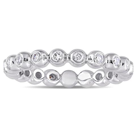 Miadora Signature Collection 14k White Gold 1/2ct TDW Diamond Beaded Eternity Ring