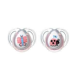 Tommee Tippee Clear Butterfly/Bug Everyday Pacifier 0-6 Months (2 Pack)
