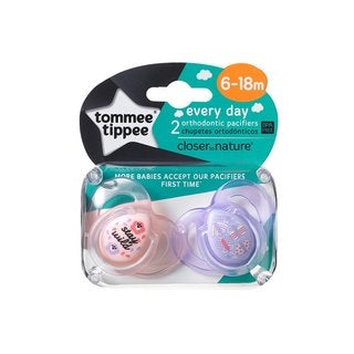 Tommee Tippee Stay Wild/Moth Everyday Pacifier 6-18 Months (2 Pack)