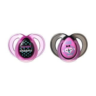 Tommee Tippee Pink Monkey Night Time Pacifier 6-18 Months (2 Count)