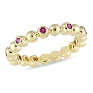 Miadora Signature Collection 14k Yellow Gold Ruby Beaded Eternity Band