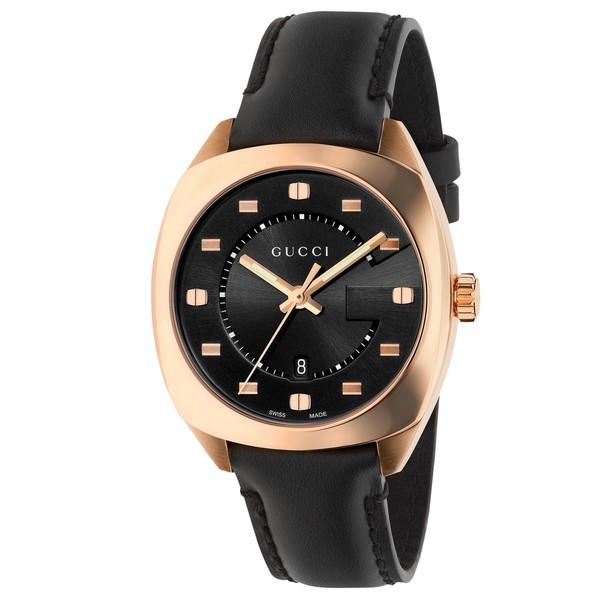b0c6c0e3203 Shop Gucci Women s YA142407  GG2570 Medium  Black Leather Watch - Free  Shipping Today - Overstock - 14722308