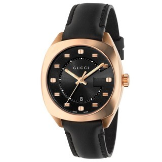 Gucci Women's YA142407 'GG2570 Medium' Black Leather Watch