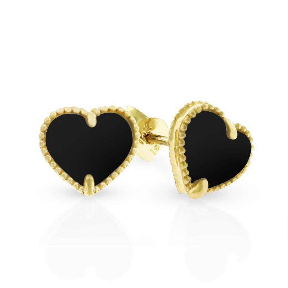 14k Yellow Gold Womens Fancy 8mm Love Heart Black Onyx Stud Earrings