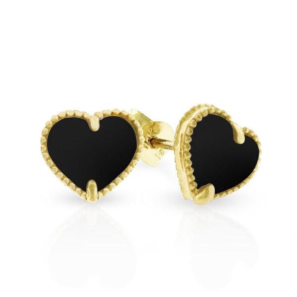 14k Yellow Gold Womens Fancy 8mm Love Heart Black Onyx Stud Earrings