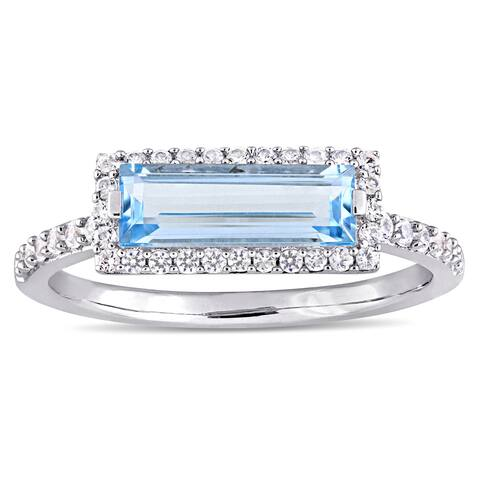 Miadora Sterling Silver Sky Blue Topaz and White Sapphire Rectangular Halo Ring