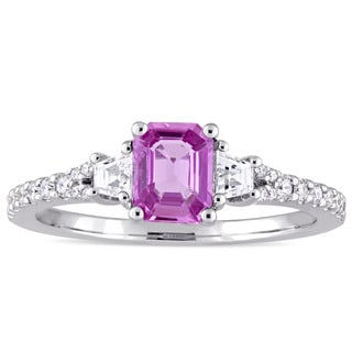 Miadora Signature Collection 14k White Gold Pink and White Sapphire with 1/6ct TDW Diamond Engagemen