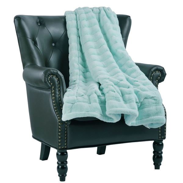 BOON Solid Color SuperMink Faux Fur Throw with Sherpa Backing