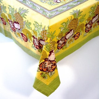 Couleur Nature Tutti Frutti Yellow and Green Table Cloth