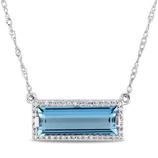 Miadora Signature Collection 14k White Gold London Blue Topaz 1/8ct TDW Diamond Rectangular Halo Necklace (G-H, SI1-SI2)