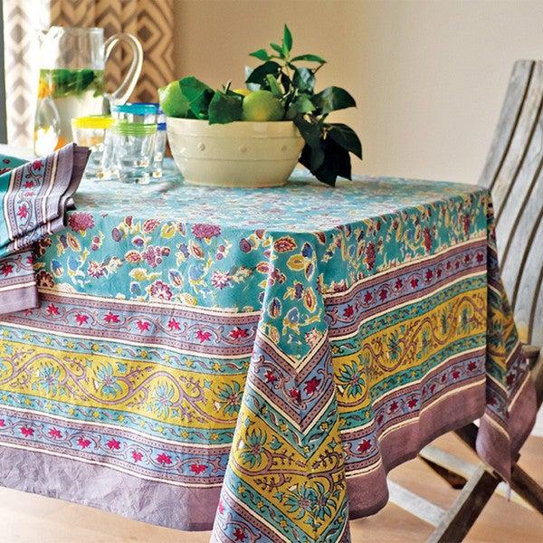 Couleur Nature Joy Grey and Aqua Cotton Table Cloth