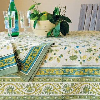 Couleur Nature Joy Green and Blue Cotton Tablecloth