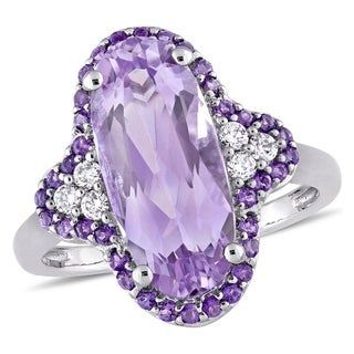 Miadora Signature Collection 14k White Gold Rose de France African Amethyst and 1/8ct TDW Diamond Ring (G-H, SI1-SI2)
