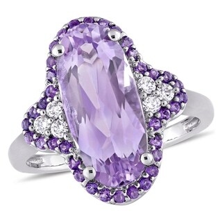 Miadora Signature Collection 14k White Gold Rose de France African Amethyst and 1/8ct TDW Diamond Ri