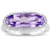 Miadora Sterling Silver Oval-Cut Amethyst and White Topaz Halo Cocktail Ring