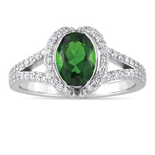 Miadora Signature Collection 14k White Gold Chrome Diopside and 1/3ct TDW Diamond Split Shank Engagement Ring (G-H, SI1-SI2)