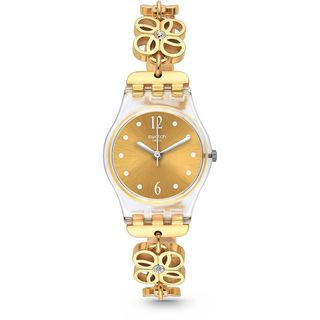 Swatch Women's LK360G 'Coup De Fleur' Crystal Gold-Tone Stainless Steel Watch
