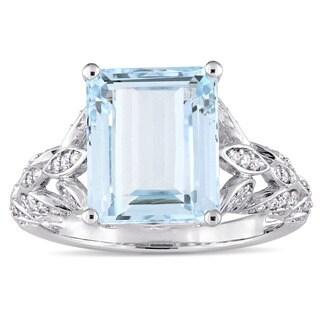 Miadora Signature Collection 14k White Gold Octagon-Cut Aquamarine 1/3ct TDW Diamond Filigree Engagement Ring (G-H, SI1-SI2)