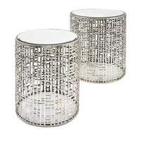 Evans Round Silver Mirror Accent Tables (Set of 2)