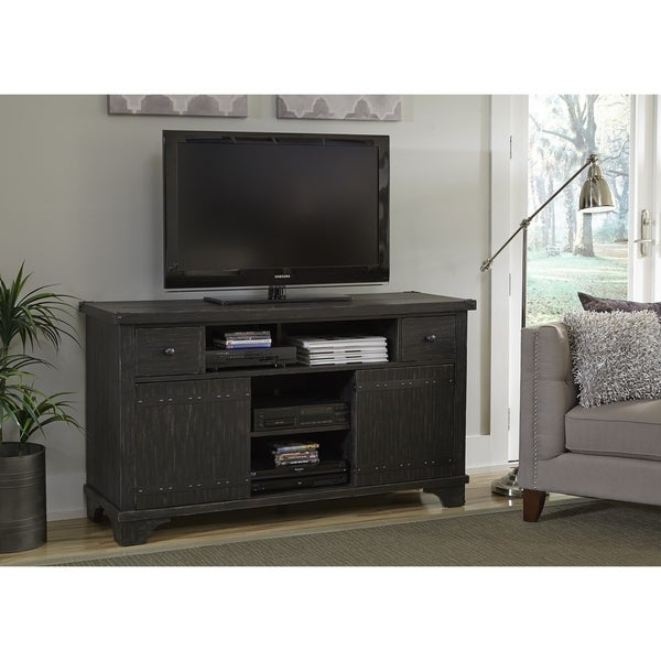 Shop Aspen Skies Wire Brushed Black 60 Inch Tv Entertainment Center