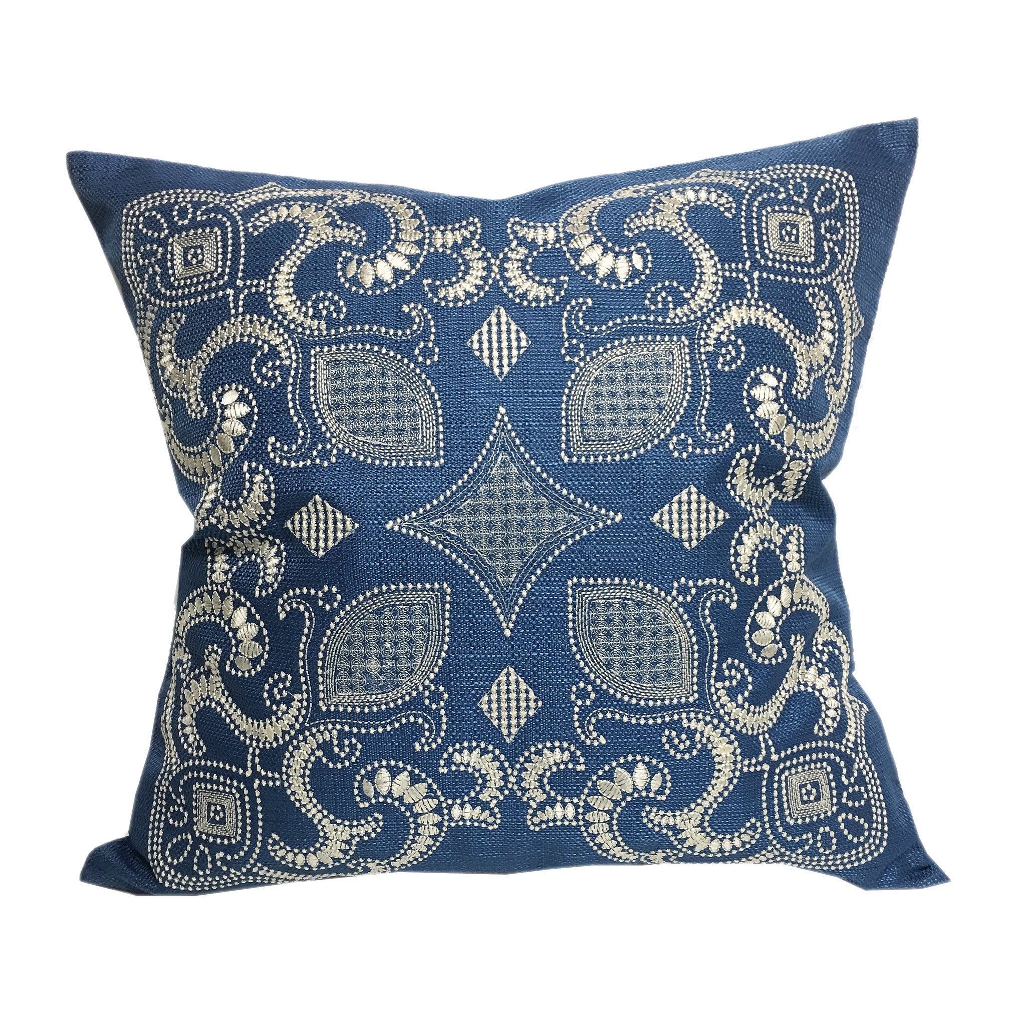 Home Accent Pillows Sapphire Blue 20 Inch Woven Embroidered Throw Pillow Overstock 14722607