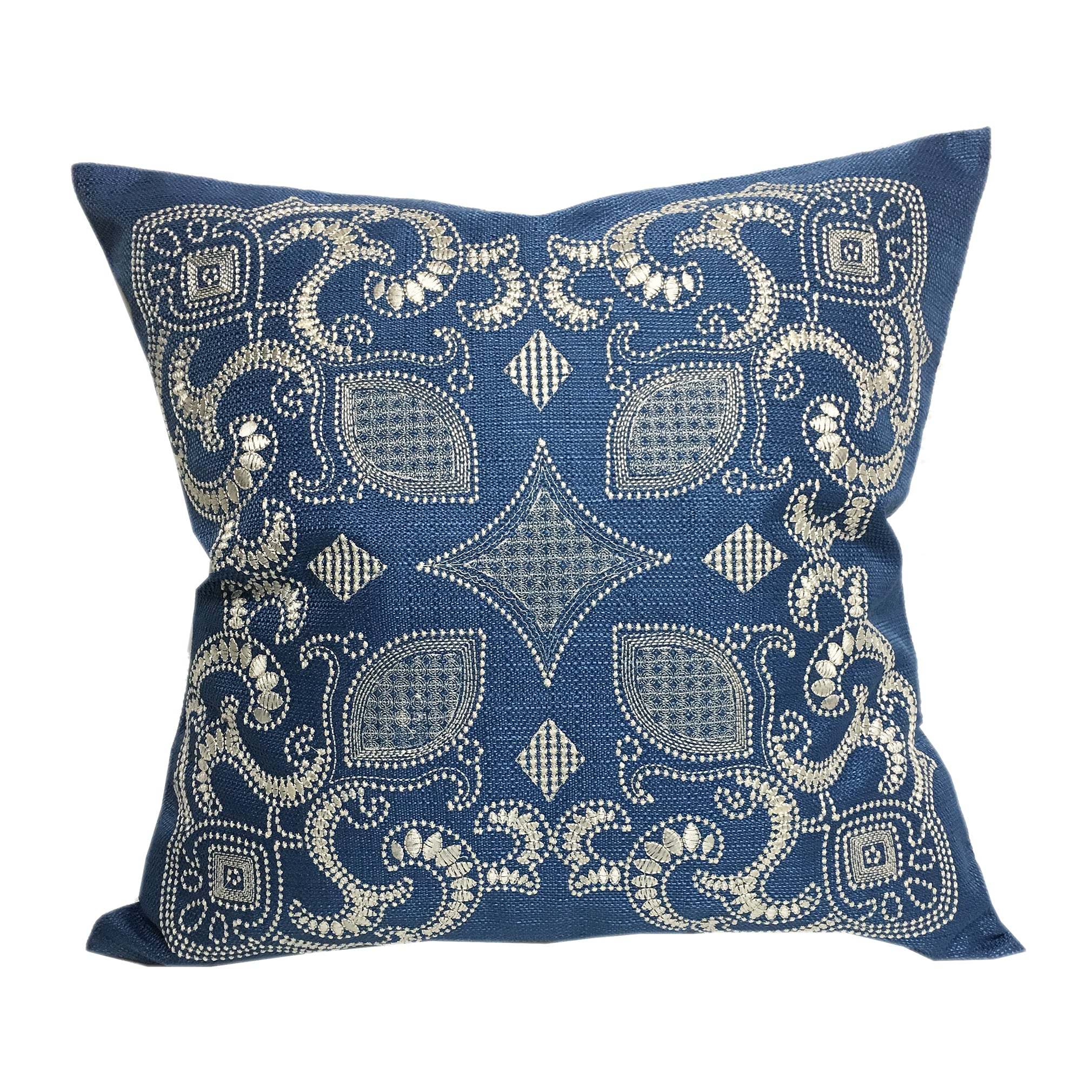 Home Accent Pillows Sapphire Blue 20-inch Woven Embroidered Throw Pillow (Blue)