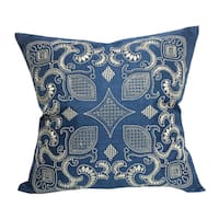 Home Accent Pillows Sapphire Blue 20-inch Woven Embroidered Throw Pillow