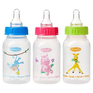 Evenflo Blue/Pink/Green Zoo Friends 4-ounce Bottle with Standard Nipple