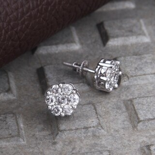1.00CT tdw 925 Sterling silver flower earrings